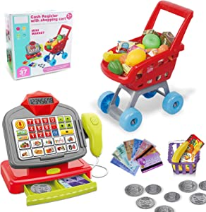Kimiangel Cash Register with Shopping Cart,Cashier with Electronic/Scanner/Calculator/Play Food Sets and Learning for Kids