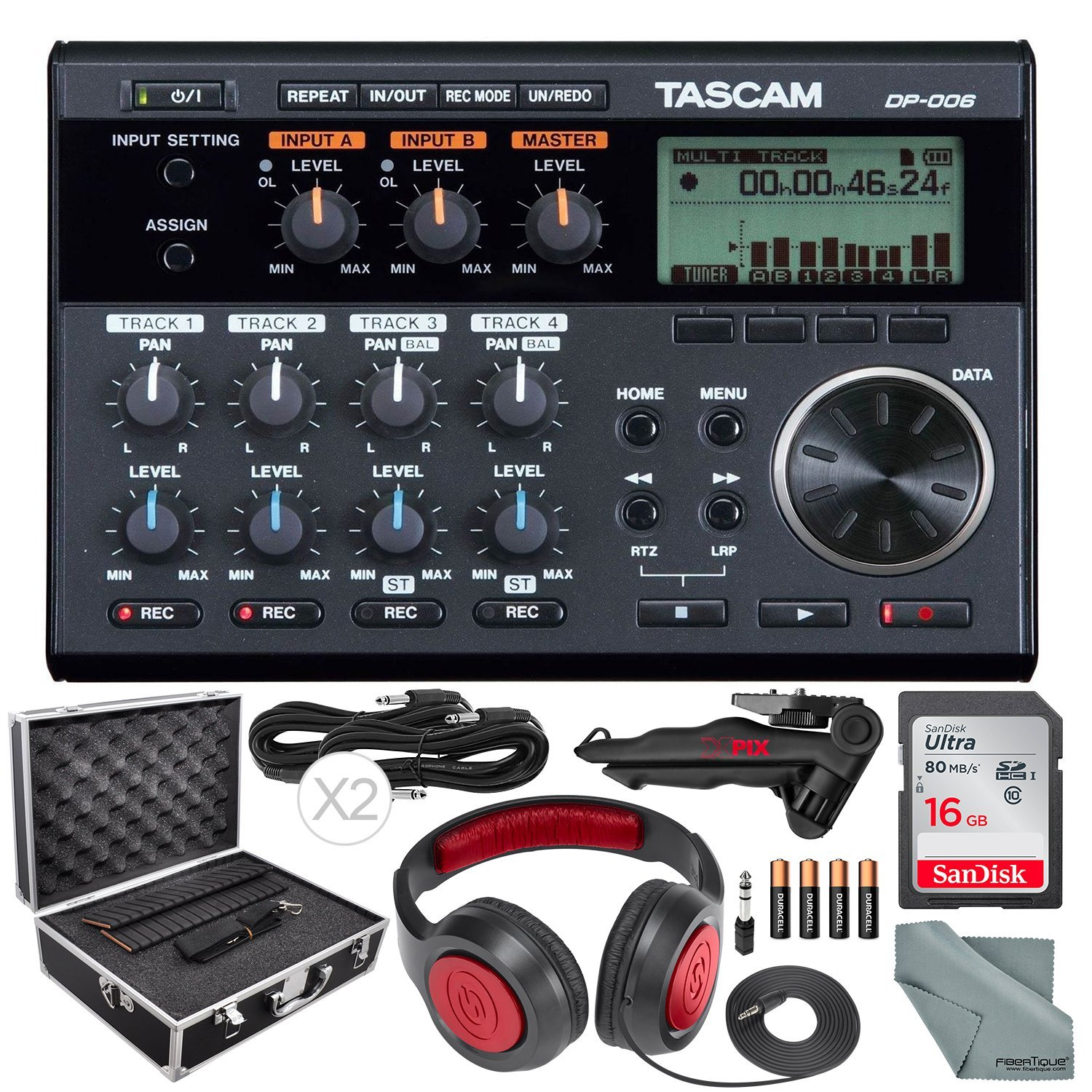 Tascam DP-006 6-track Digital Pocketstudio and Deluxe Accessory Bundle w/ Headphones + Case + Cables + 16GB + Xpix Tripod + More