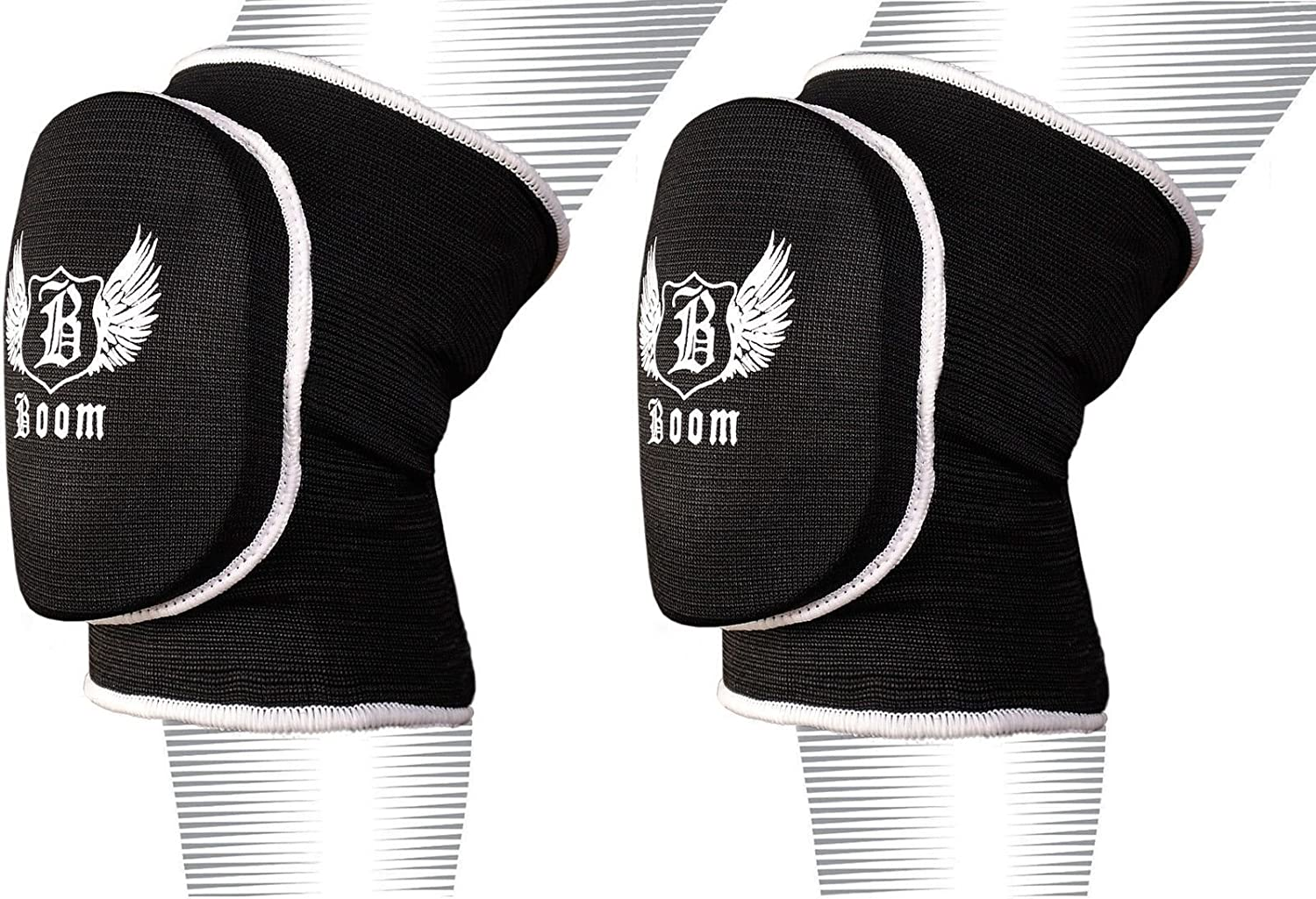 L//XL, Black BOOM Prime Padded Soft Garden Knee Support Pads Protector Elasticated Guard MMA