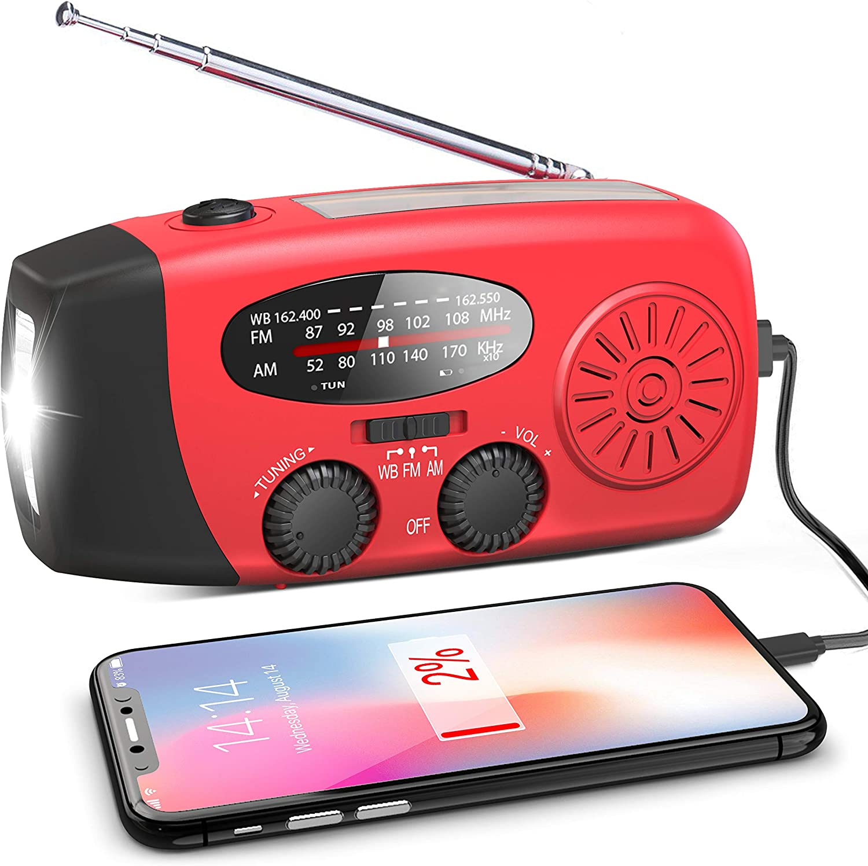 Emergency Solar Light Hand Crank Dynamo AM//FM//WB Radio Flashlight USB Power Bank