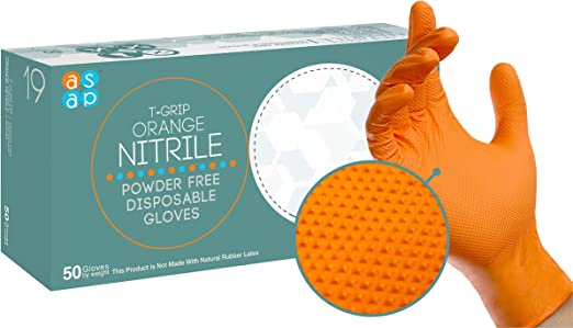 ASAP T-Grip Nitrile Powder Free Industrial Multi-Purpose Gloves, Raised Textured Grip, Disposable, 7 mil, Orange (Large - Box of 50)