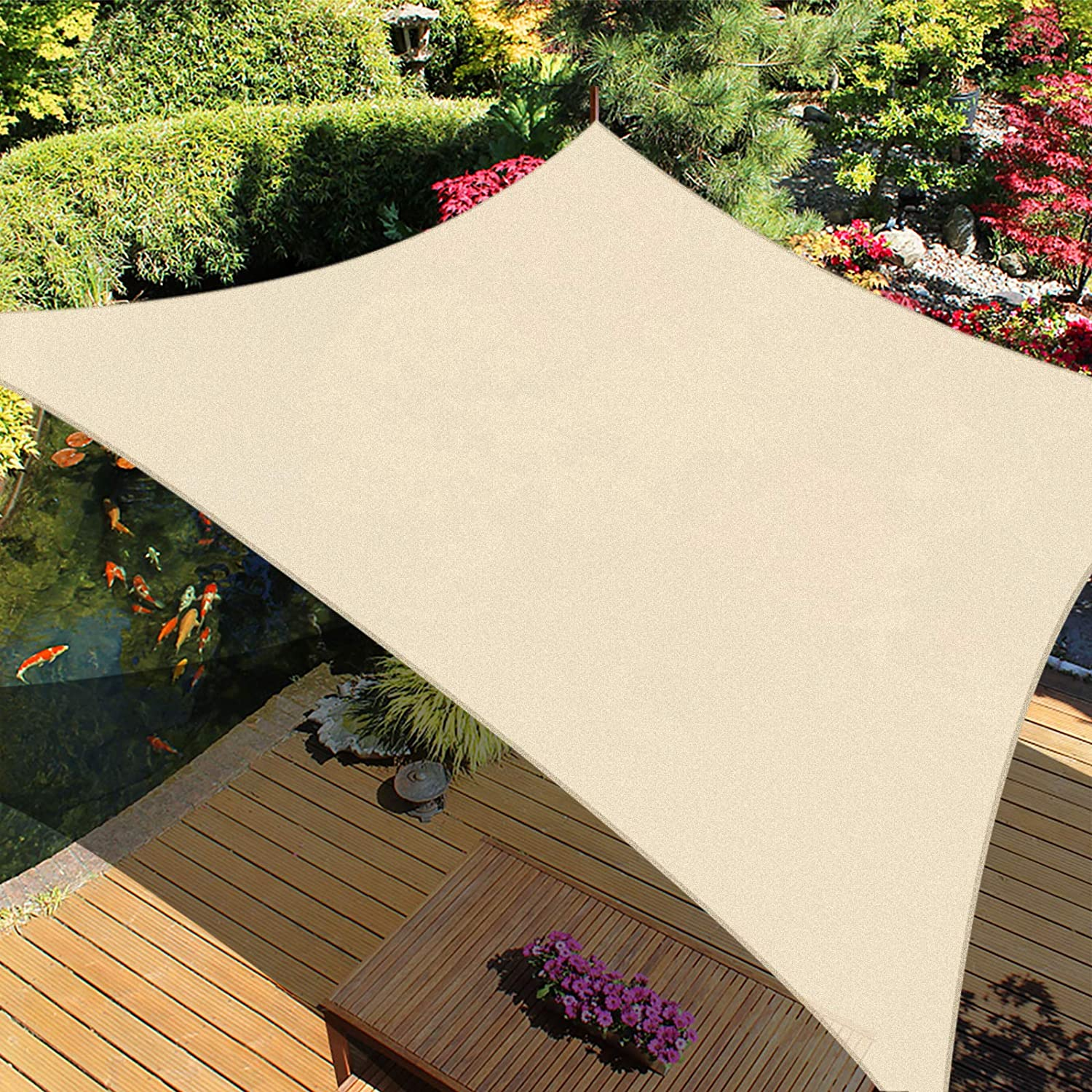 iCOVER Sun Shade Sail Canopy, 185GSM Fabric Permeable Pergolas Top Cover, for Outdoor Patio Lawn Garden Backyard Awning, 8'x12', Beige
