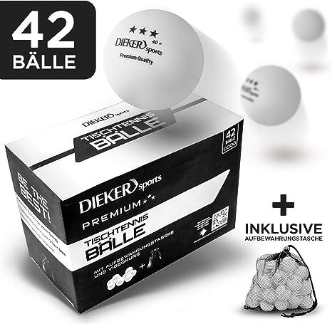Pelotas de tenis de mesa premium 3 estrellas de Dieker Sports [36 unidades + bolsa] – Incluye