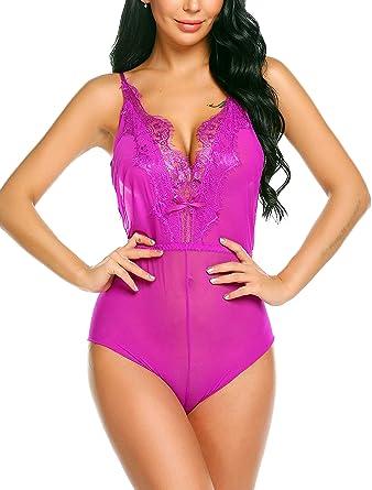 082dd0fbee Avidlove Women Lingerie Lace Babydoll V Neck Sleepwear Strap Chemise Purple  S