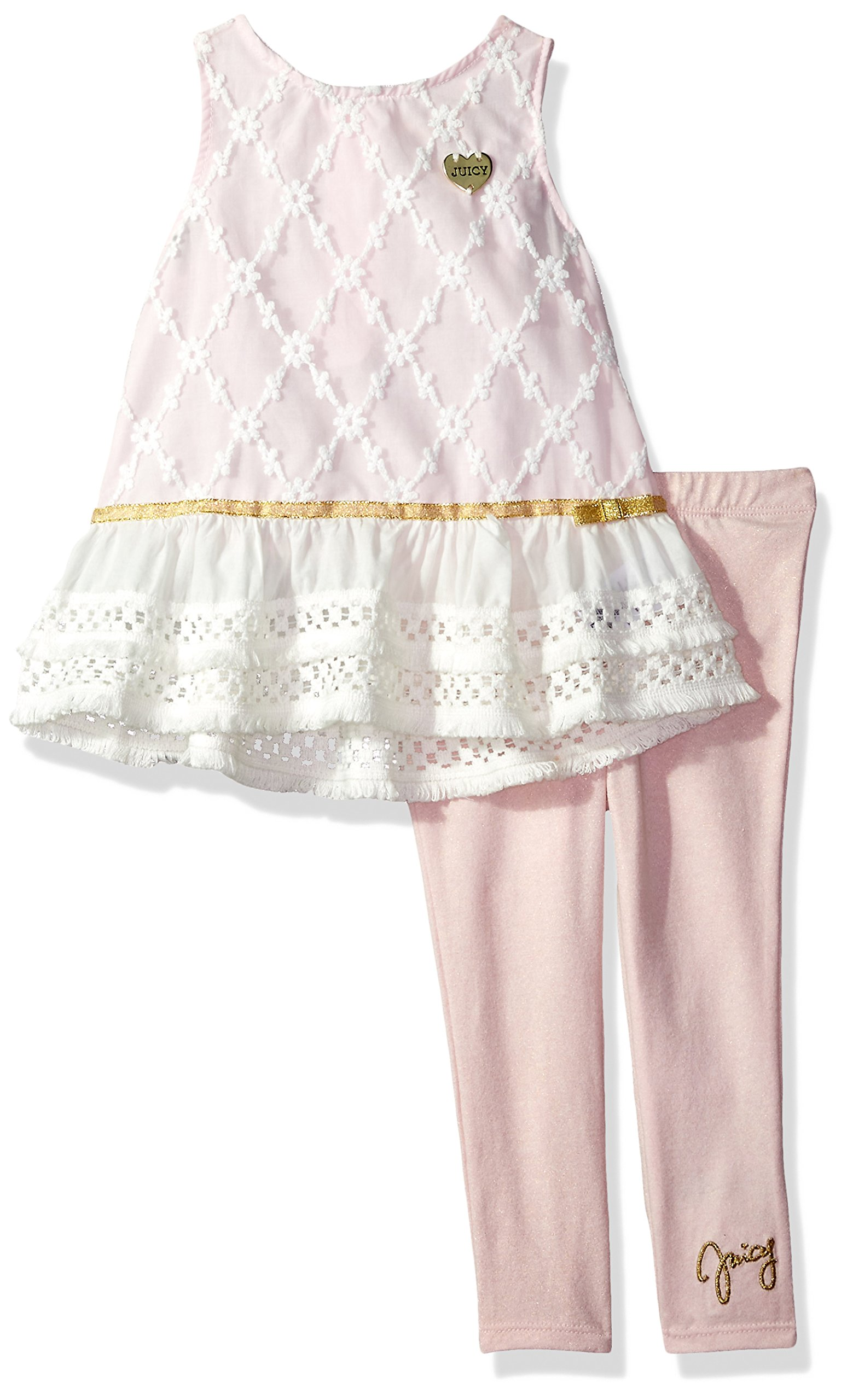 Juicy Couture Girls' Toddler 2 Pieces Tunic Set, Light Pink/Vanilla 3T