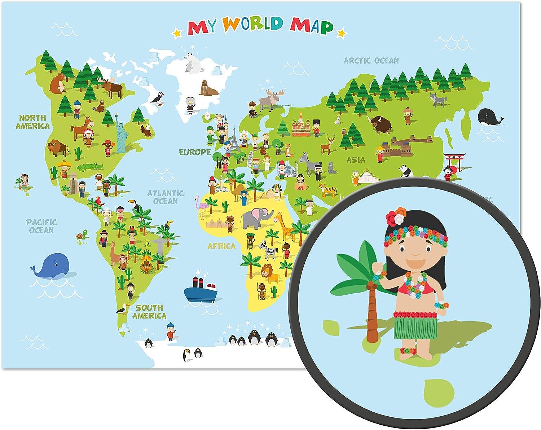ARTBAY El mapamundi para niños - XXL Póster - 118,8 x 84 cm - Mapa del mundo para niños con personajes alegres y animales - Aprender los continentes diferentes, las culturas y