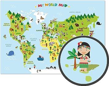 ARTBAY El mapamundi para niños - XXL Póster - 118,8 x 84 cm - Mapa del mundo para