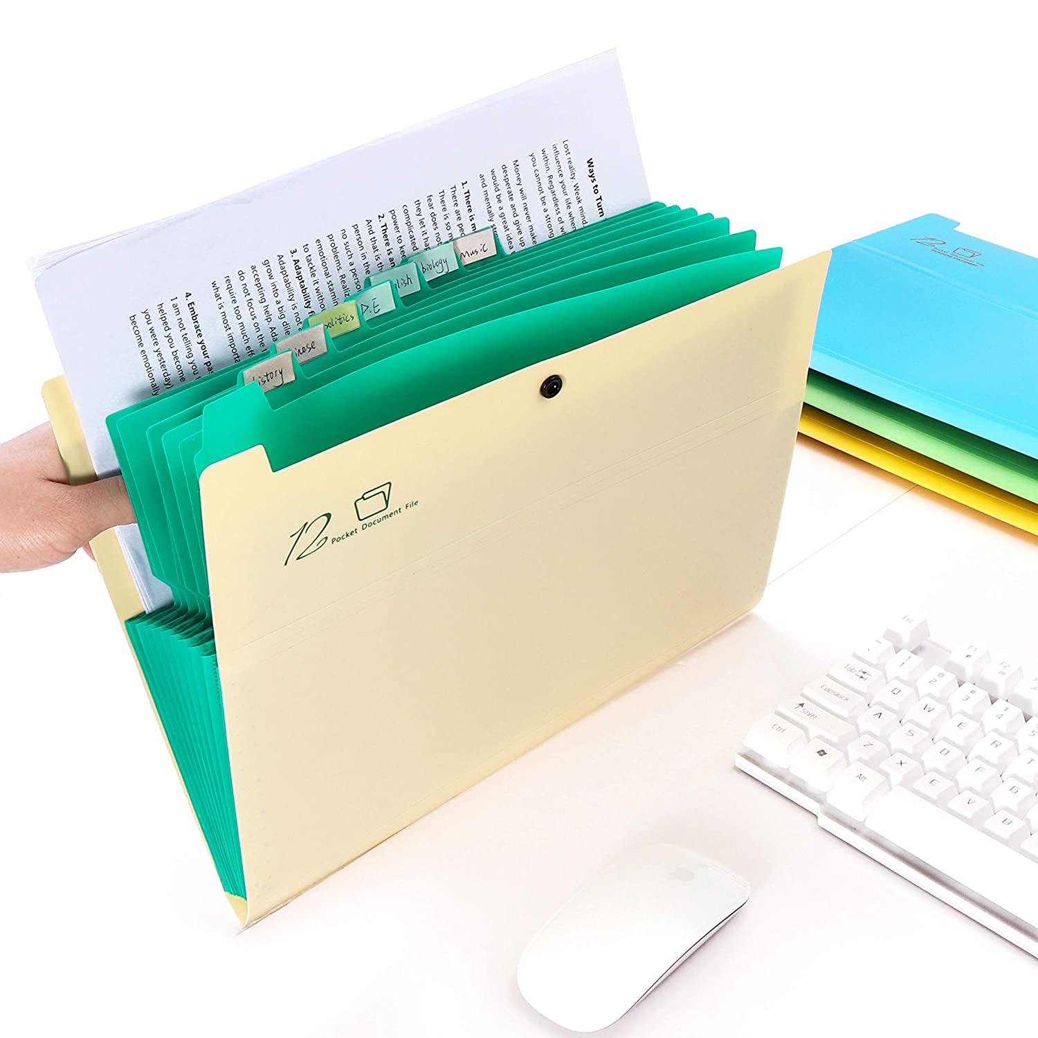 Blue HC Eco-Friendly Plastic Expanding File Folders 12 Pockets Accordion Document Organizer A4 Letter Size with Snap Closure Pocket Document File for School Office and Families