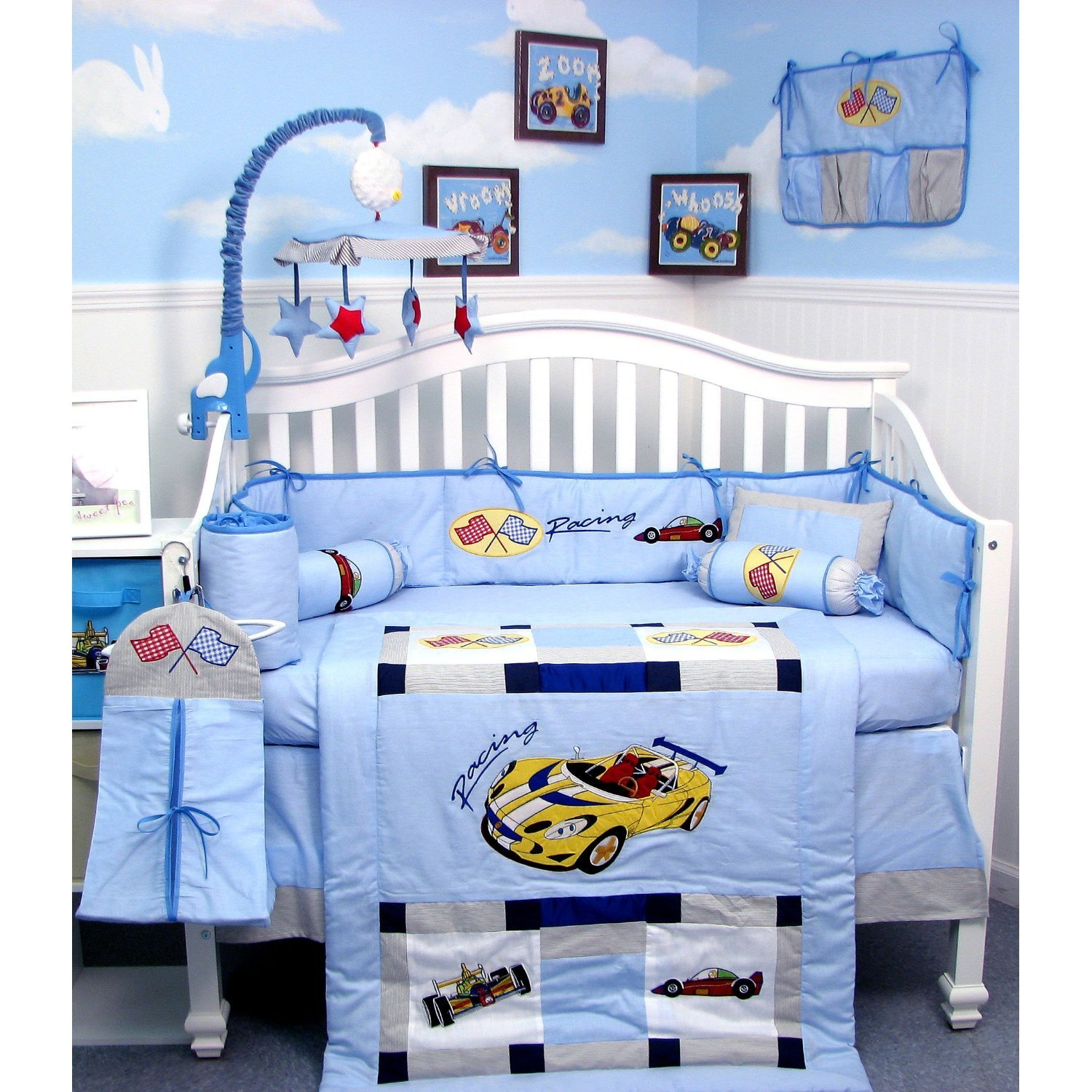 Amazon com   New Zoom Zoom Race Car Baby Crib Nursery Bedding Set 13 pcs  included Diaper Bag with Changing Pad   Bottle Case   Baby. Amazon com   New Zoom Zoom Race Car Baby Crib Nursery Bedding Set