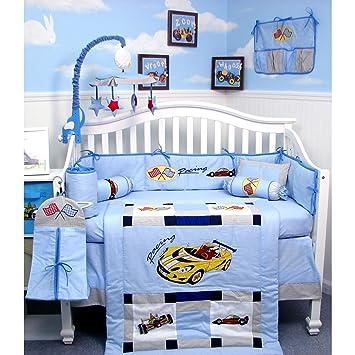 Amazon.com : New Zoom Zoom Race Car Baby Crib Nursery Bedding Set ...