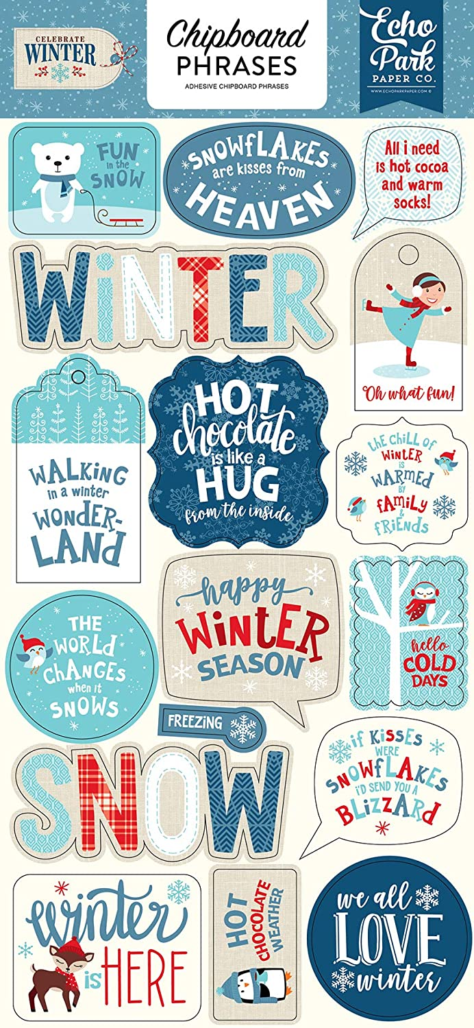 Red//Blue//Navy//Green//White 6-x-12-Inch Echo Park Paper Company CW162022 Celebrate Winter 6x12 Phrases chipboard