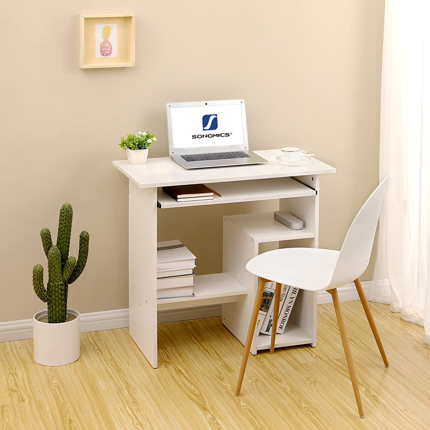 Songmics Computer Desk Small Study Workstation Writing Desk With Sliding