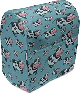 Ambesonne Cattle Stand Mixer Cover, Doodle Multiple Cows with Bells Continuous Pattern on Blue Background Print, Kitchen Appliance Organizer Bag Cover with Pockets, 6-8 Quarts, Teal Pink