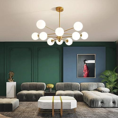 NEWSEE Sputnik Chandelier Modern 10-Light Glass Gold Globes Classic Mid Century Pendant Lighting Fixture Living Dining Room Gold 10 Light