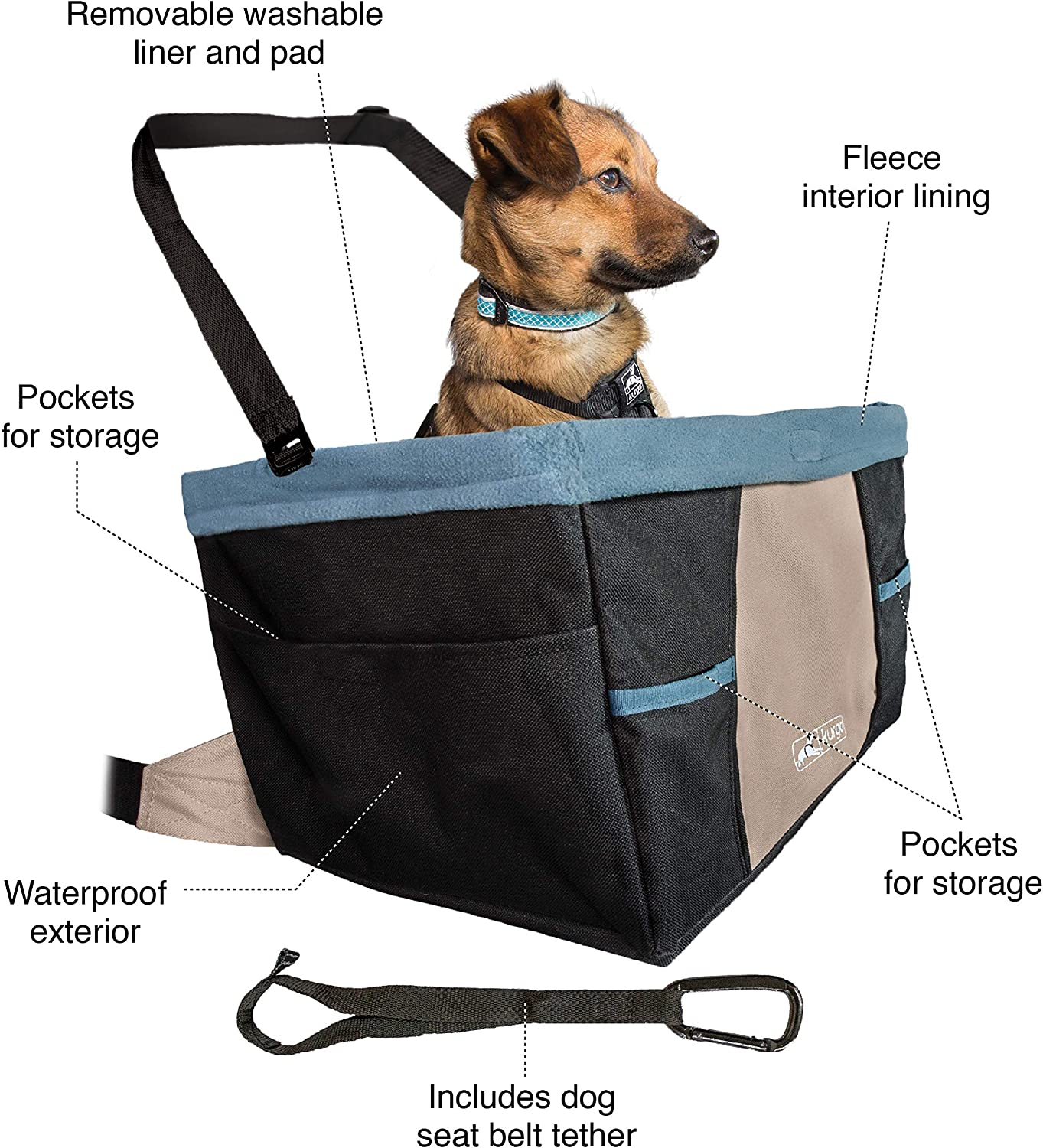 Kurgo Car Pet Booster Seat for Dogs or Cats Front Rear Dog Car Seat Carrier Carseat for Pets Dog Seatbelt Tether Helps with Canine Car Sickness