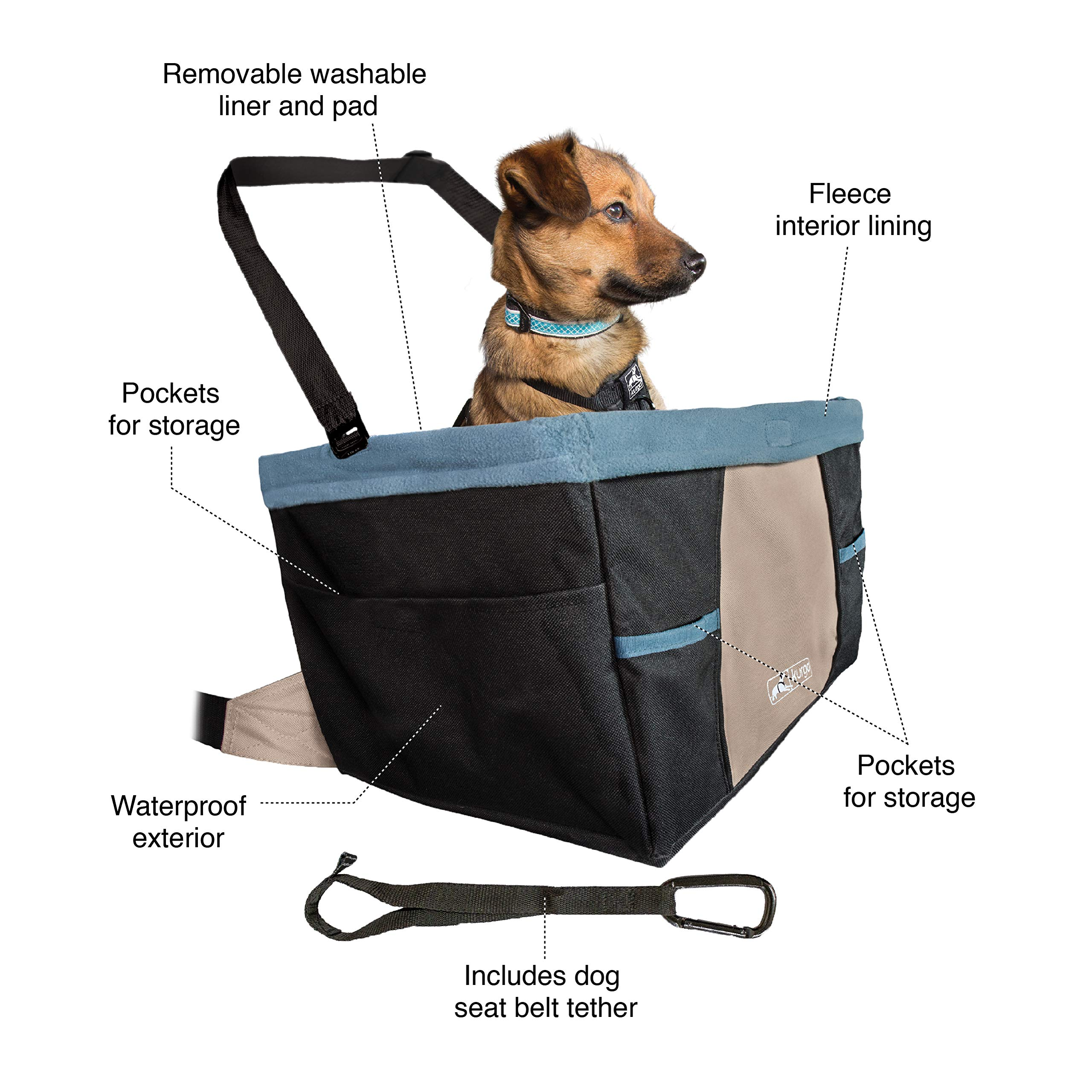 Kurgo Rover Booster Dog Car Seat with Seat Belt Tether, Black/Blue by Kurgo (Image #2)