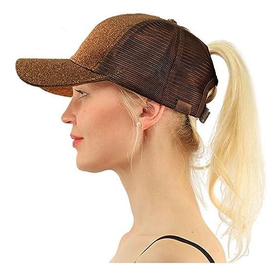 13c70d4e Empress High Ponytail Hat Glitter Messy Bun Pull Through Adjustable Mesh  Trucker Ponycaps Baseball Plain Visor