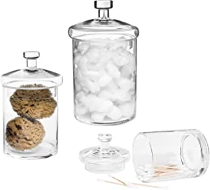MyGift Decorative Clear Glass Cylinder Apothecary Storage Jars with Lids, Set of 3