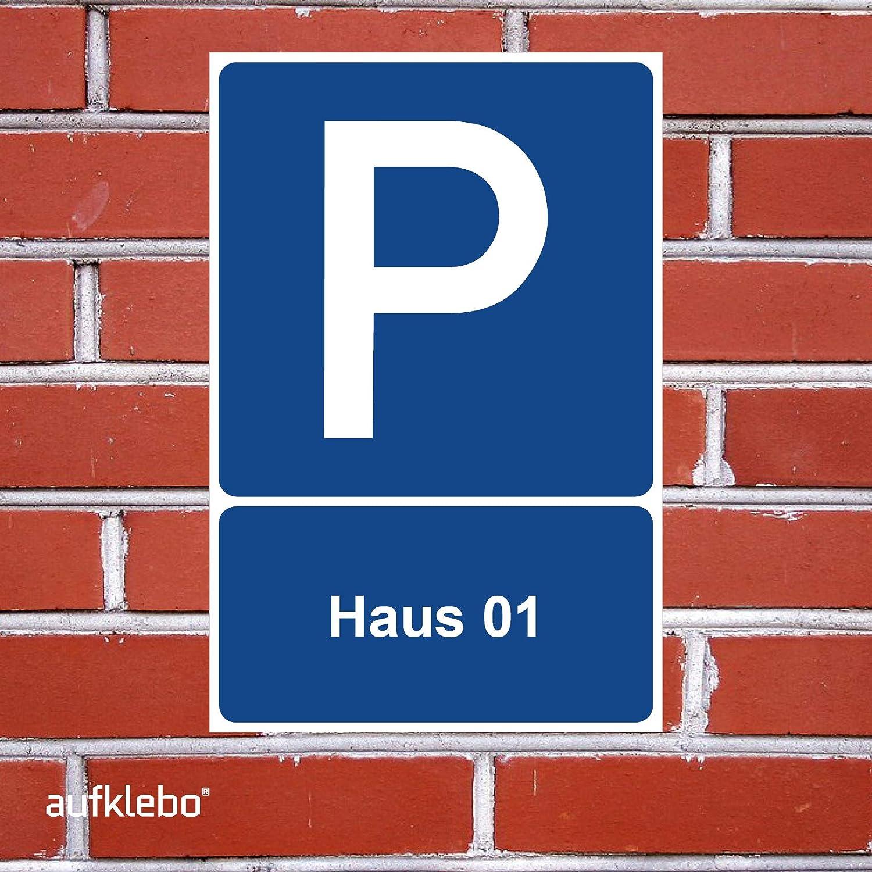 Parkplatz Freihalten Parkplatzschild Haus 01 Parken Schild Blau 30 x 20 x 0,3 cm Kunststoff Parkplatzmakierung Parken Parkplatzschilder Parkplatz Hinweisschild Verbotsschild