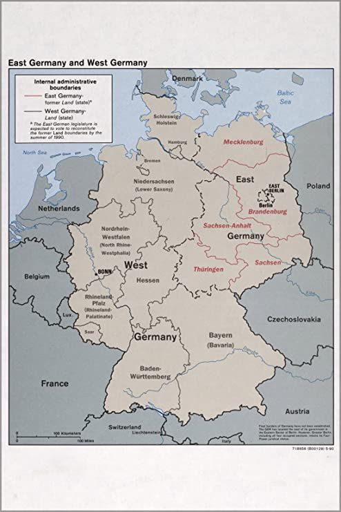 Amazon Com 20x30 Poster Cia Map Of East Germany West Germany