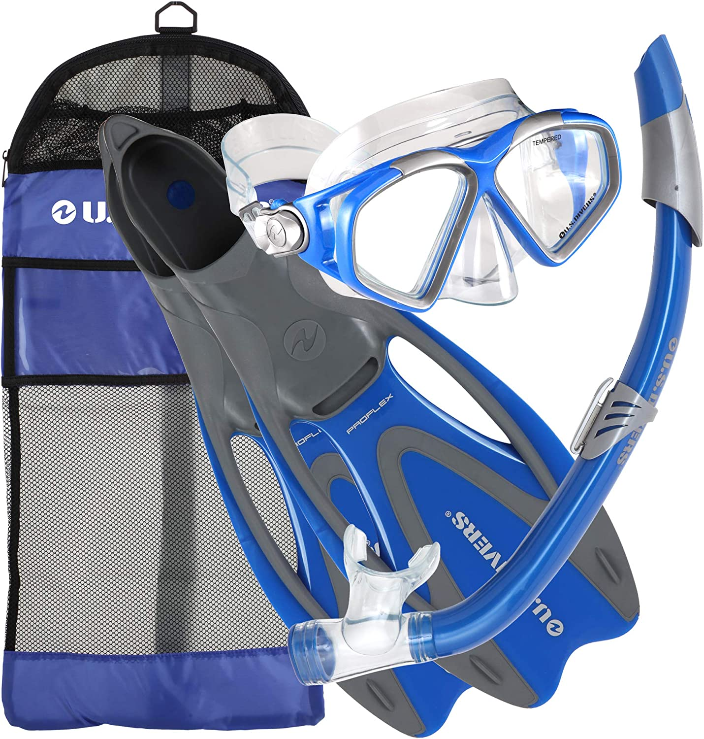 U.S. Divers Cozumel Seabreeze Adult Snorkeling Combo Set with Adjustable Mask, Snorkel, Medium/Large Fins (8-9.5), and Travel Bag, Blue