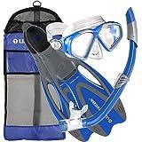U.S. Divers Cozumel Seabreeze Adult Snorkeling Combo Set with Adjustable Mask, Snorkel, Medium/Large Fins (8-9.5), and Travel Bag, Blue