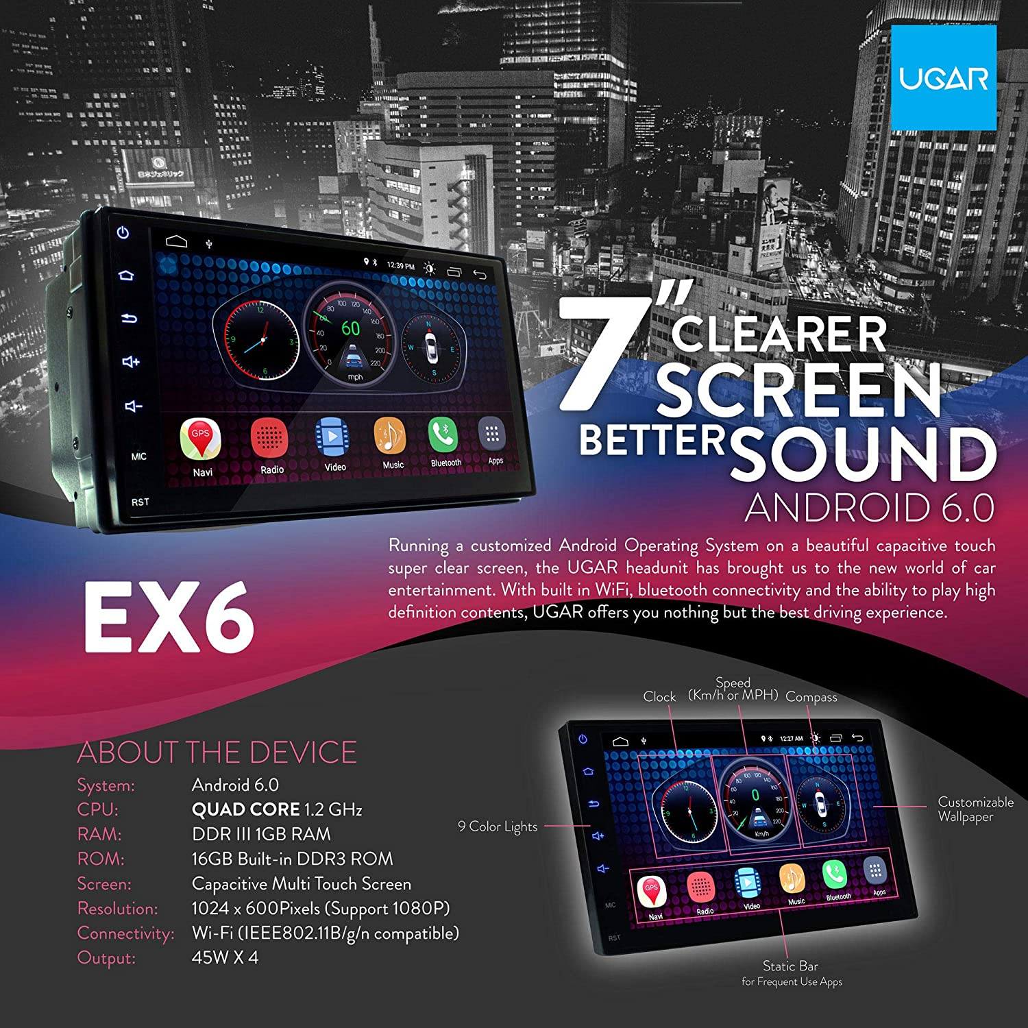 2007+ UGAR EX6 7 Android 6.0 Car Stereo Radio Plus 11-322 Fascia Kit for Fiat 500