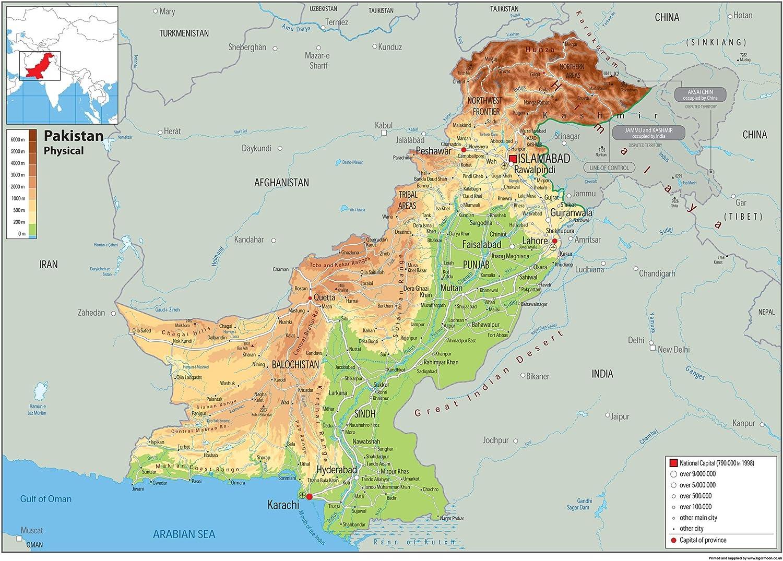Cartina India Pakistan.Pakistan Physical Map Paper Laminated A1 Size 59 4 X 84 1 Cm Amazon Co Uk Office Products
