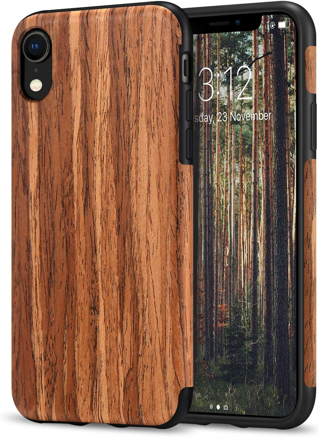 TENDLIN Compatible with iPhone XR Case Wood Grain Outside Design and Flexible TPU Silicone Hybrid Slim Case Compatible with iPhone XR (Red Sandalwood)