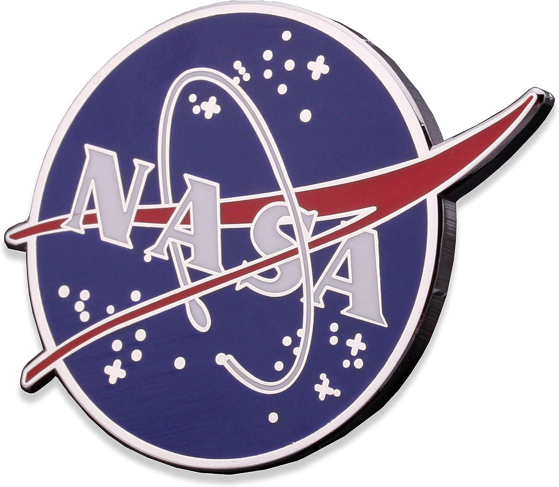 NASA Logo Enamel Lapel Pin Large NASA Hat Pin Hard Shiny Silver Size 1.5