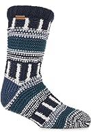 Urban Knit Mens 1 Pair Fair Isle Multi Textured Slipper Socks