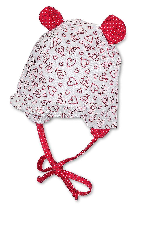 Sterntaler jerseymütze bébé rouge/blanc pour fille avec protection anti-uV 30 1401441