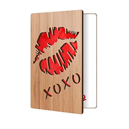 Amazon greeting card for him or her handmade lips design in greeting card for him or her handmade lips design in real wood wooden m4hsunfo
