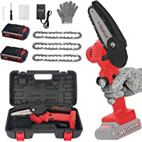 4 inch Mini Chain Saw with Baffle, 3 Chains, A Set of Tools & Storage BoxPortable, 24V Electric Chainsaw Household Small…