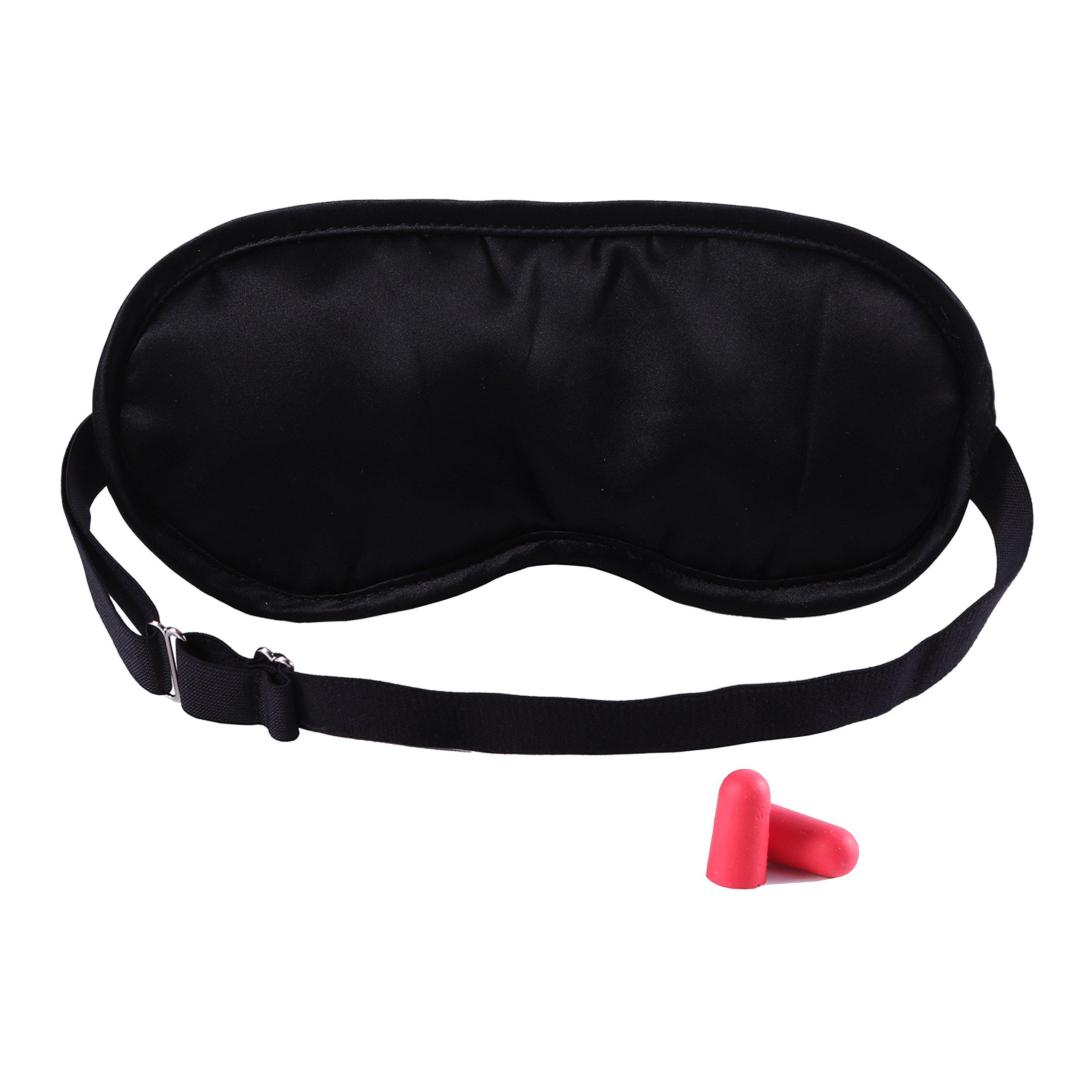 Silk Sleep Mask for Women,Men,Soft Light Blocking Natural Silk Sleeping Eye Mask with Ear Plug Set for Travel, Blackout Blindfold with Adjustable Strap