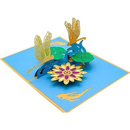 MIHOB Dragonfly Pop Up Card 3D Greeting Happy Birthday
