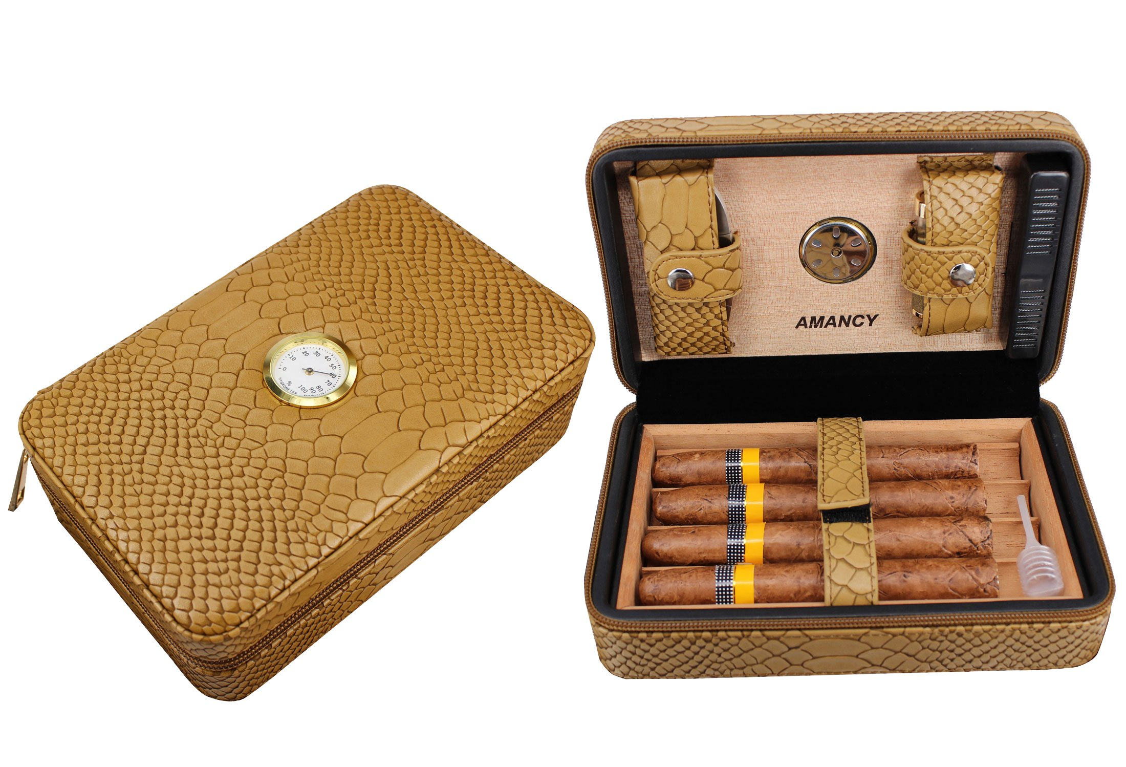 AMANCY Stylish Small Travel Cedar Wood Cigar Humidor, Portable Leather Cigar Case,Conveniently Carry Cutter and Lighter