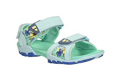 01513a683644 Clarks Girls Out-Of-School Zalmo Word Inf Coated Leather Sandals In Blue  Combi