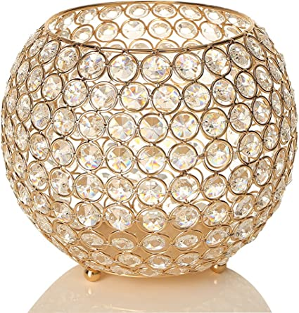 Vincigant Gold Crystal Pillar Candle Holders Wedding Centerpieces For Dining Room Table Home Decoration Gift Boxed 20cm Diameter Amazon Co Uk Kitchen Home