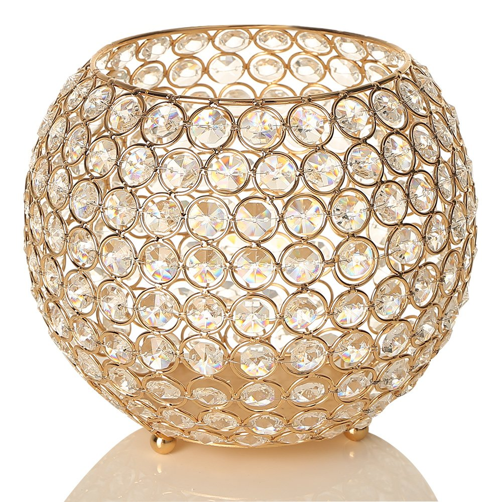 Super Amazon Com Vincigant Gold Crystal Bowl Candle Holders Interior Design Ideas Inesswwsoteloinfo