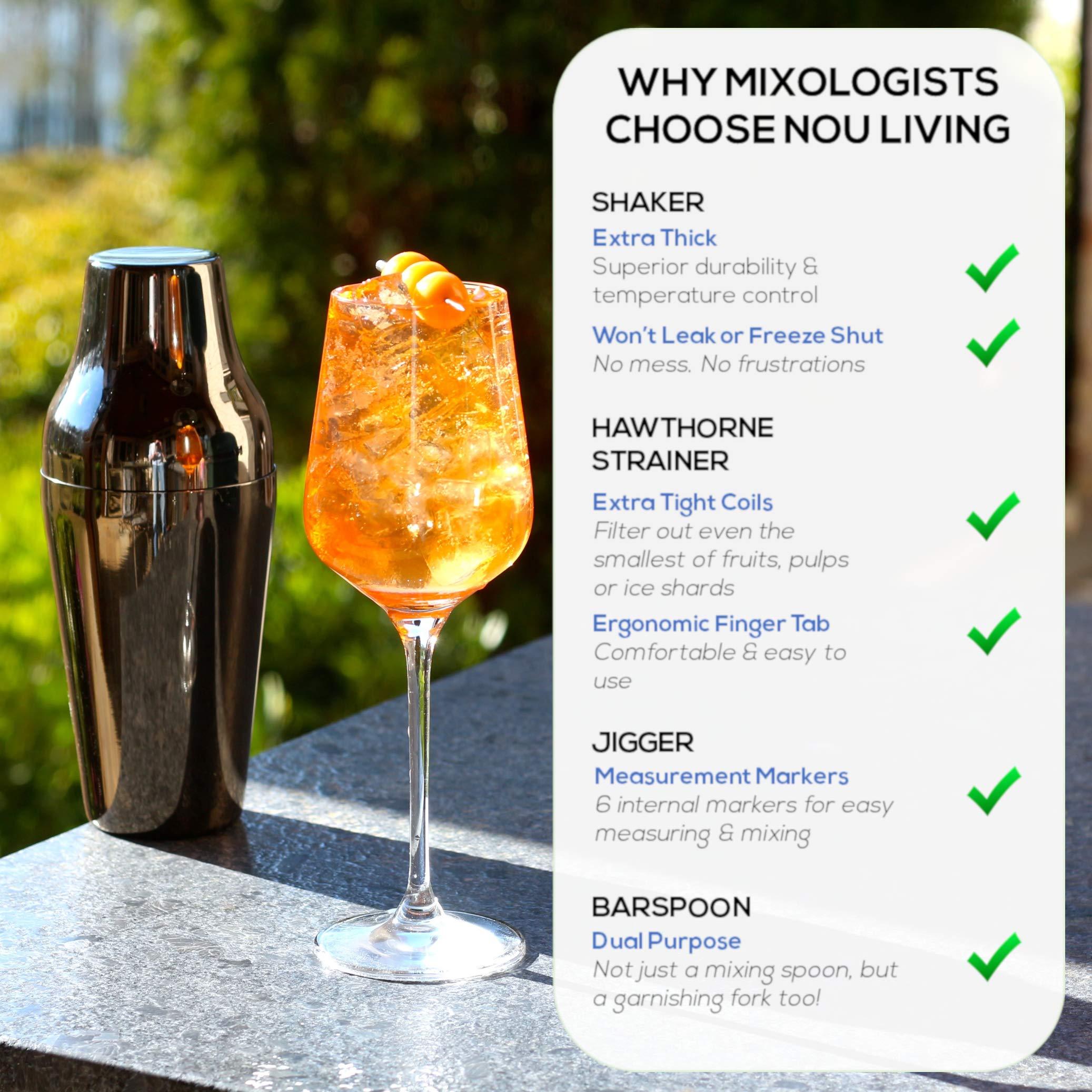 Premium Cocktail Shaker Set and Mixology Bartender Kit - Luxury Bar Set & Bartending Tools: Parisian Drink Shaker, Strainer, Muddler, Jigger, Mixer Spoon, Accessories & Recipe E-Book - Gun Metal Black by Nou Living (Image #2)