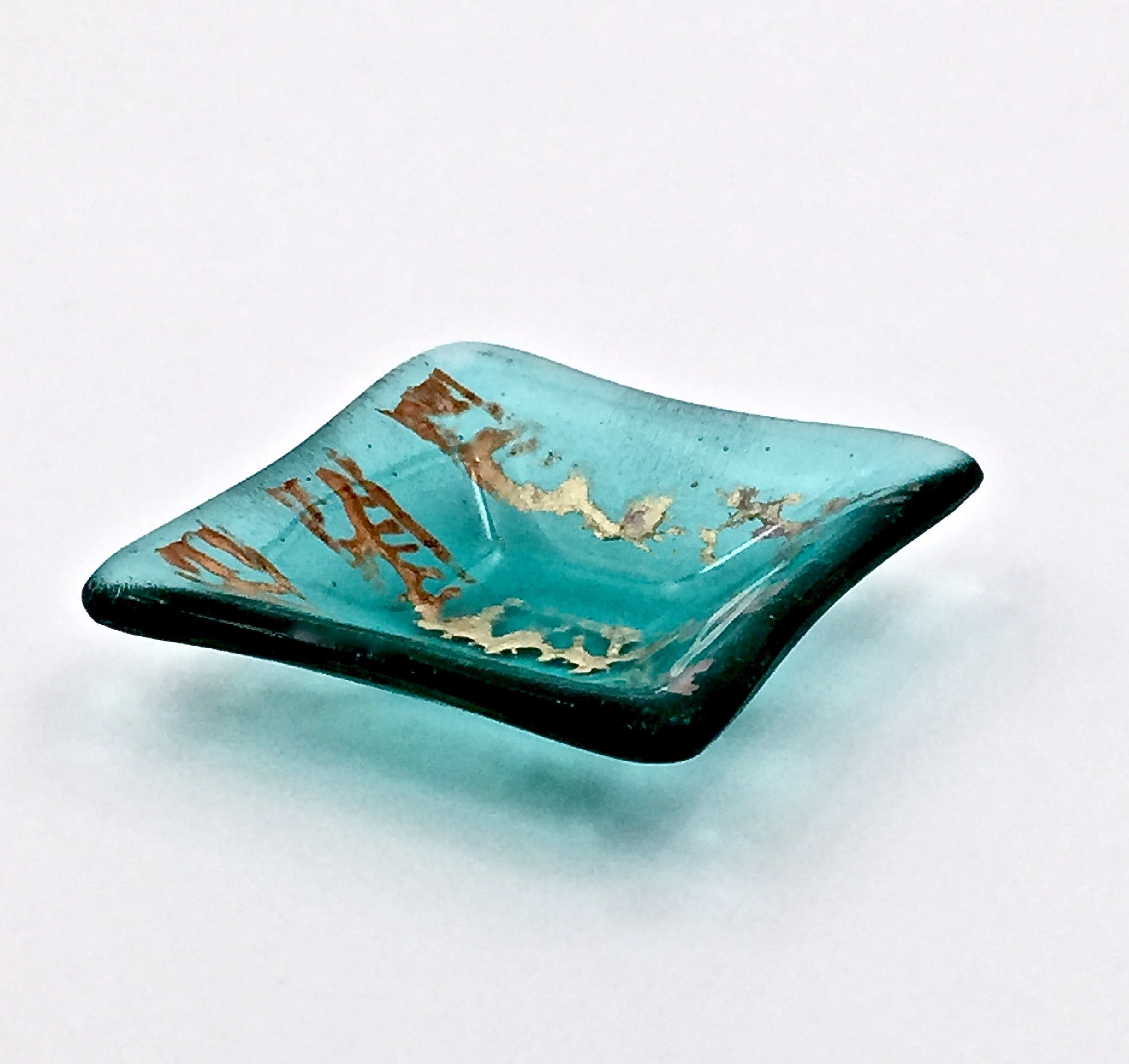 Metallic Copper, Gold and Silver Accents on a Transparent Aquamarine Blue Fused Glass Small Square Decorative Bowl