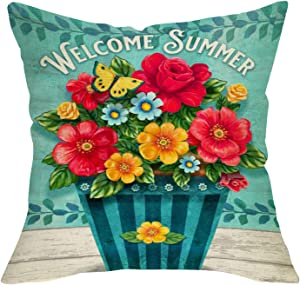 Softxpp Welcome Summer Decorative Throw Pillow Cover, Flowers Pot Butterfly Olive Branch Cushion Case, Seasonal Home Decorations Cotton Linen Square Outside Pillowcase Decor Sign for Sofa Couch 18x18
