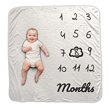 Baby Monthly Milestone BlanketNewborn Boy /& Girl New Moms Baby Shower Gifts