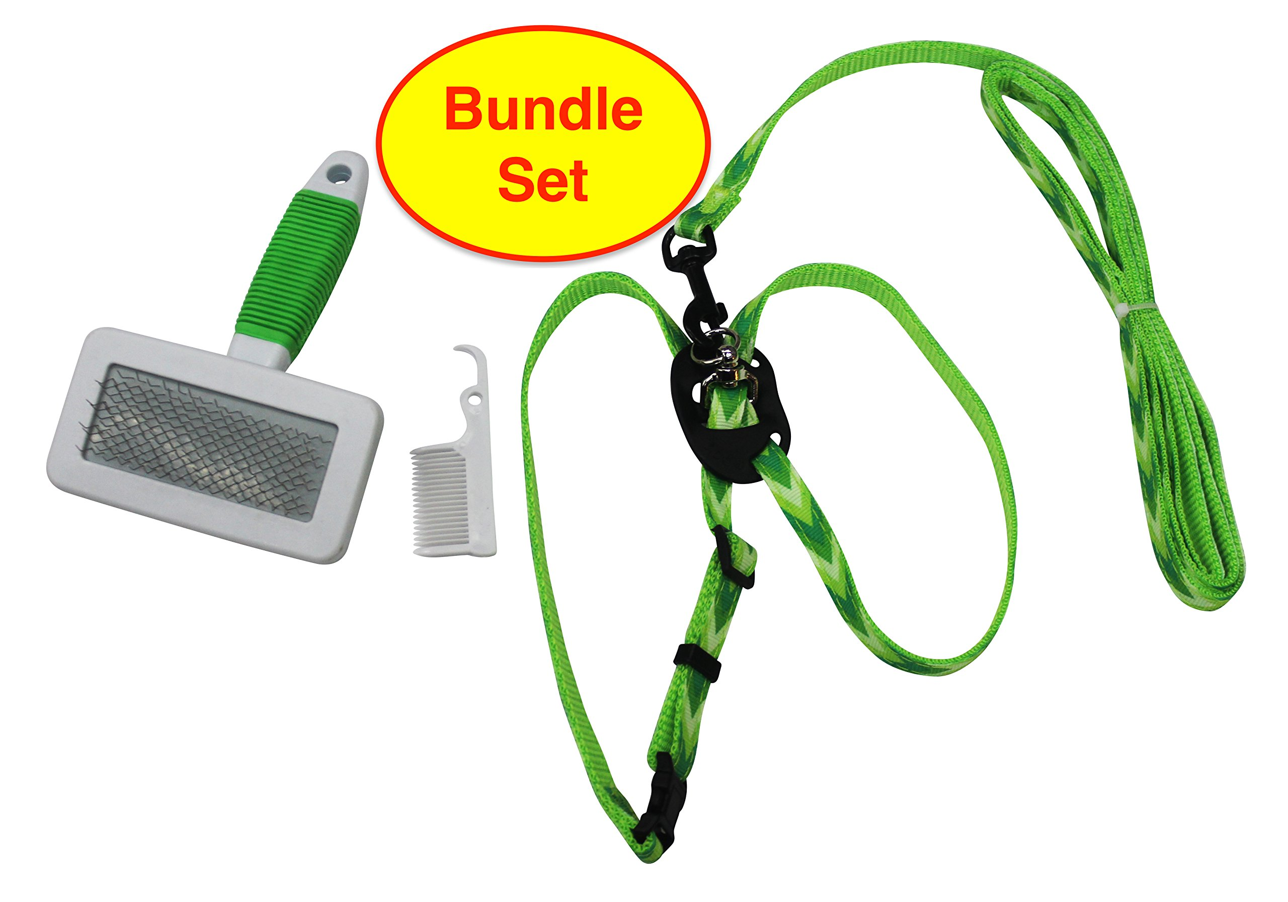 iShowYou Pet Slicker Brush Pet Leash Harness for Small Cat Dog Puppy Grooming Bundle Tool Set