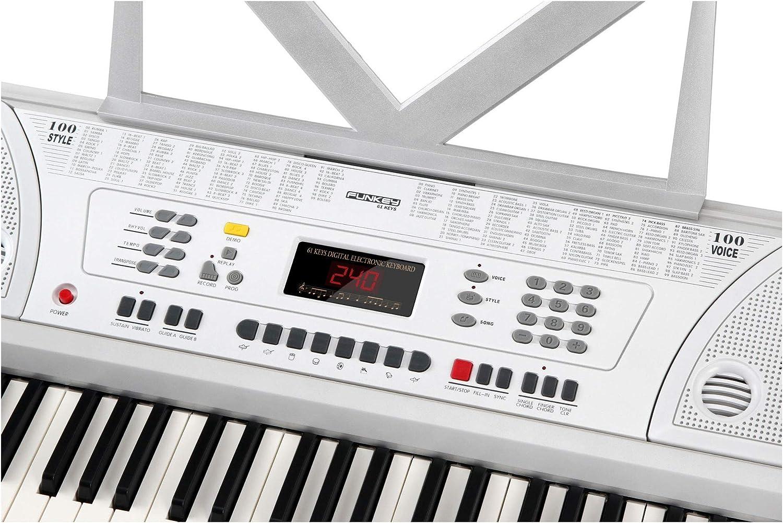 FunKey 61 WH Keyboard - teclado incl. adaptador y soporte para notas blanco
