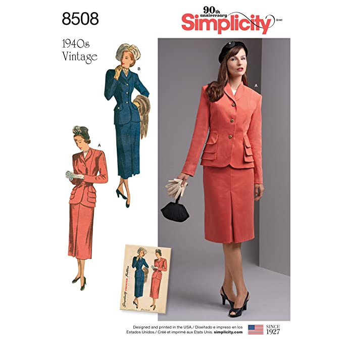 1940s Sewing Patterns – Dresses, Overalls, Lingerie etc Simplicity Pattern 8508 AA Misses/Womens Vintage 2-Piece Suit with Lined Jacket Size 10-18 $9.34 AT vintagedancer.com