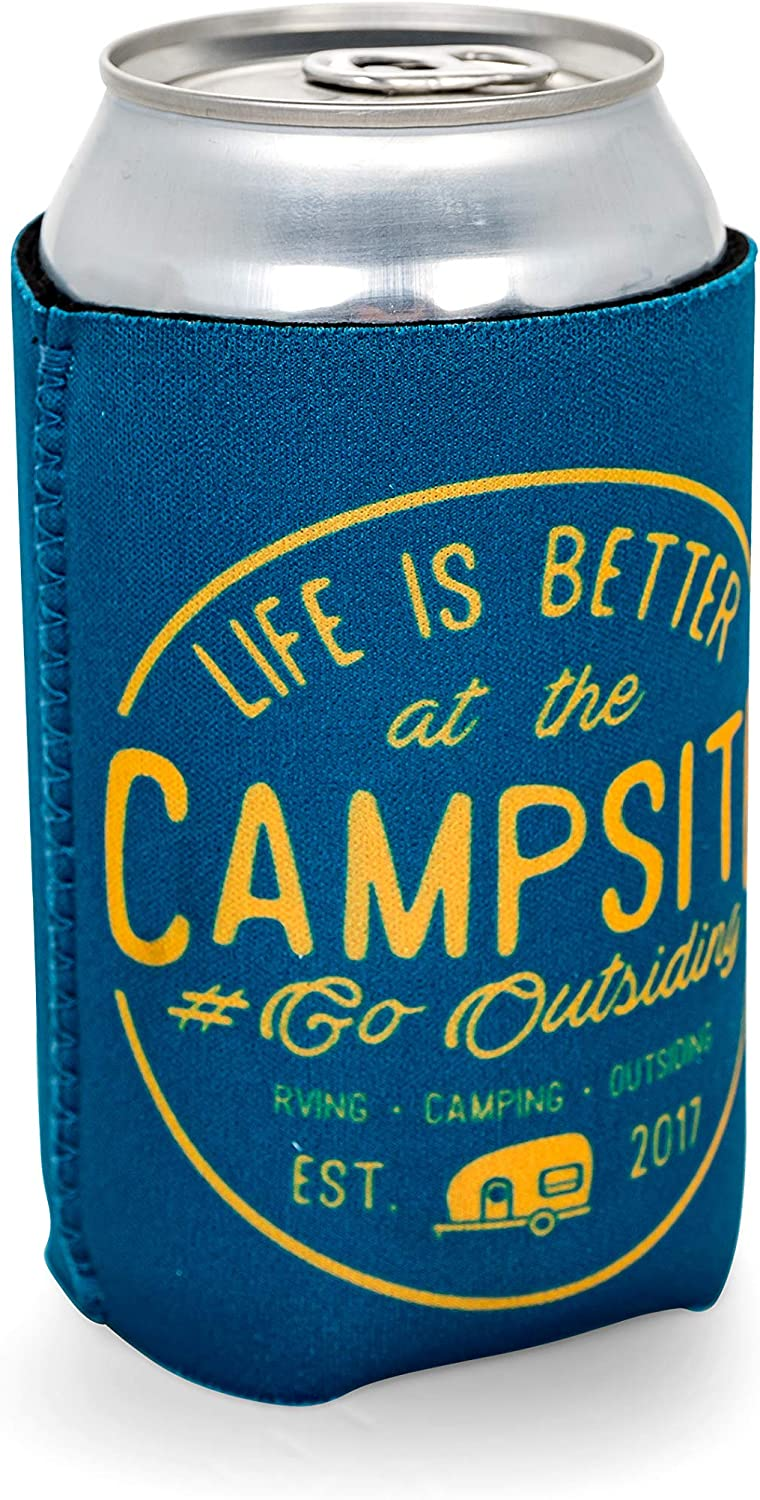 Unique RV-Themed Designs Includes Camco 53309 Life is Better at The Campsite Skinny Can Sleeve 4 4 Pack Keep Your Drinks Cold While Keeping Your Hands Warm