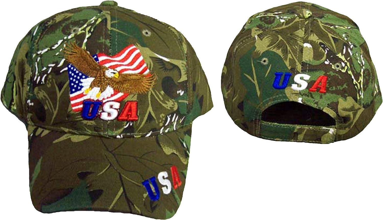 Camouflage USA Eagle American Flag Mens Hat Camo USA Baseball Cap New!