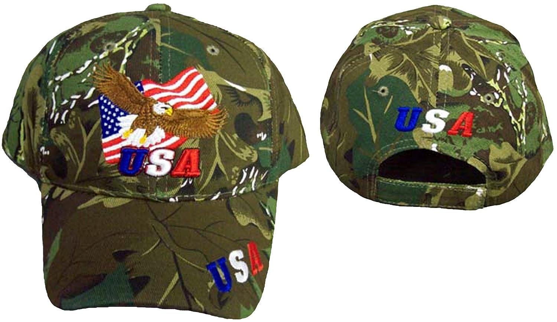 2eda75025a4 Amazon.com  Patriotic Baseball Cap Camo Bald Eagle USA Hat American Flag   Sports   Outdoors